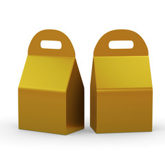 Gold flat bottom  box with handle, clipping path included
