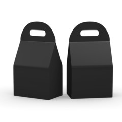 Black flat bottom  box with handle, clipping path included