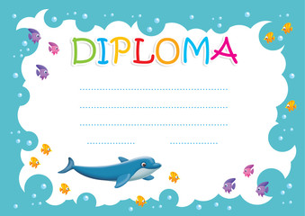 Diploma for children with dolphin
