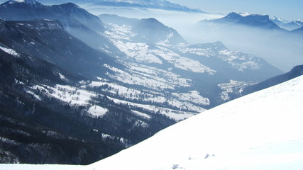 fantastic view of french alps with snow