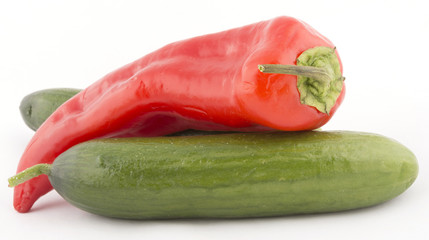 cucumber and pepper isolated