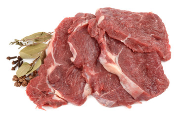 beef on a white background