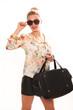 canvas print picture - Frau mit Sonnenbrille und Handtasche