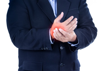 businessman with hand pain on white background