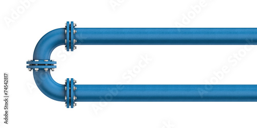 Metal pipe isolated on a white background - 74542817
