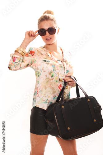 canvas print picture Frau mit Sonnenbrille und Handtasche