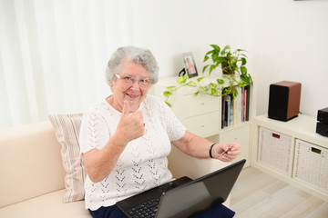 cheerful elderly woman websurfing and shopping internet laptop