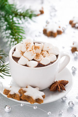 hot chocolate with marshmallows and gingerbread cookie, close-up