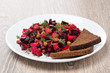 russian beetroot  salad with bread - vinaigrette