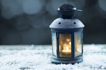 Vintage lantern with seasonal winter decoration