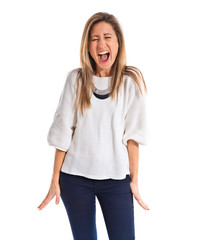 Woman shouting over white background