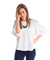 Woman thinking over white background
