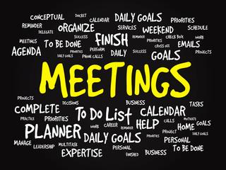 Word cloud of MEETINGS related items, vector presentation
