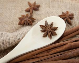 cuillère en bois de cuisine et aromates badiane