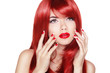 Beautiful girl with red hair. Long straight hair Shine with heal