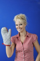 Woman with  kitchen glove