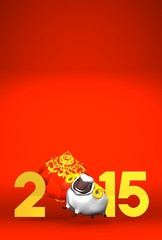 Smile White Sheep, New Year's Lantern, 2015 On Red