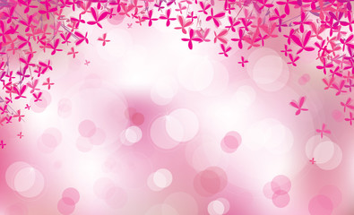 Vector pink floral border on bokeh background.