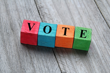 concept of vote on colorful wooden cubes