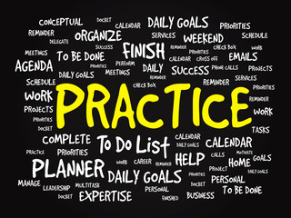 Word cloud of PRACTICE related items, vector presentation