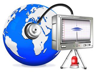 Seismometer mit Globus und Stetoskop, freigestellt