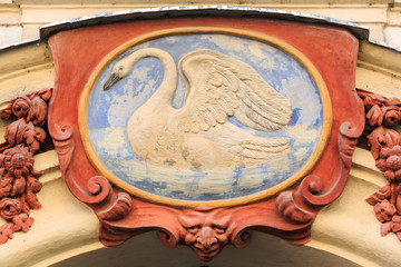 White swan, house motif. Prague, Czech Republic