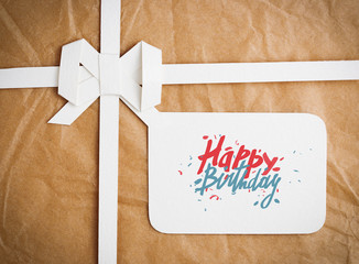 Gift box with Happy Birthday on gift tag