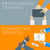 Concept for professional training and consulting services poster