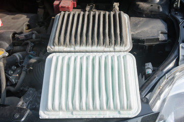 dirty and clean air filter for car