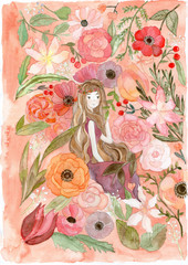 Girl and flower illustration