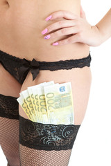 Seductive female legs wearing underwear with 200 euros