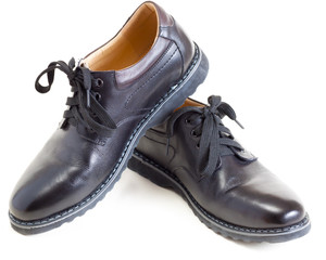 pair of men's fashion black leather shoes