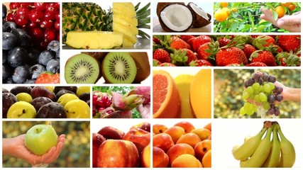 close up of diverse fruits, montage