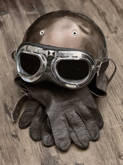 Old Motorcycle helmet and gloves