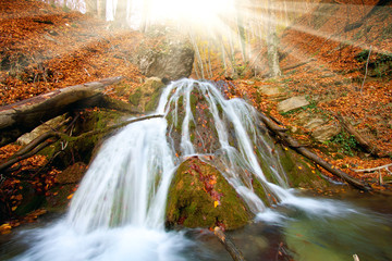 waterfall in auumn forest