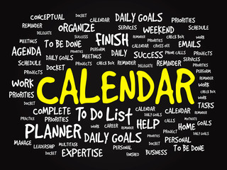 Word cloud of CALENDAR related items, vector presentation