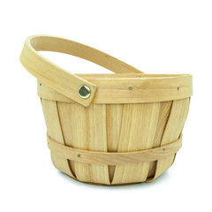wooden basket isolated on white background