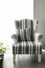 Modern white fabric armchair