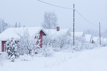 Small cottages covered in snow