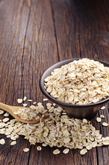 Oatmeal in bowl and near