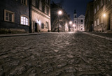 Fototapety The street of the old town in Warsaw at night