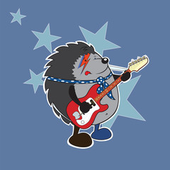 Sweet hedgehog plays electric guitar illustration