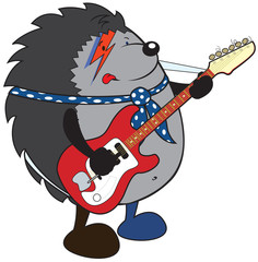 Sweet  hedgehog plays electric guitar white background