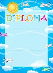 Diploma for children with planes