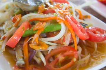 Papaya salad, Thai food (Somtum)