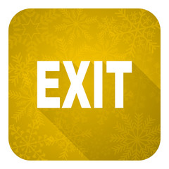 exit flat icon, gold christmas button