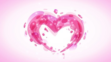 Abstract pink romantic background with heart and lights