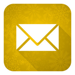 email flat icon, gold christmas button, post sign