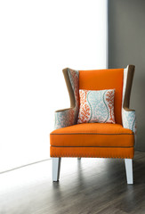 Modern orange fabric armchair