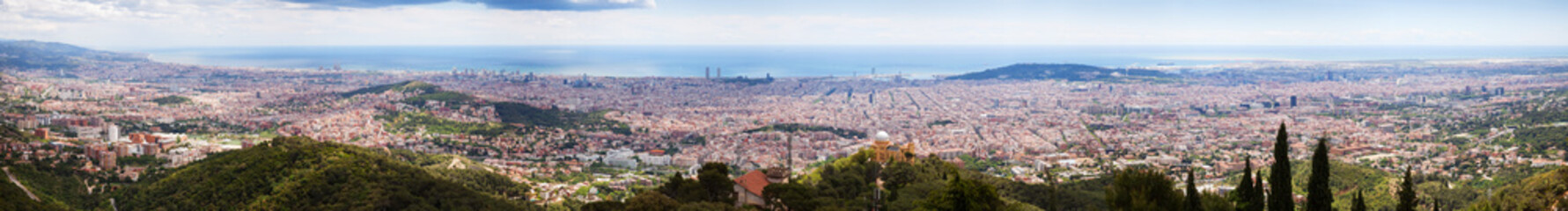 Top panoramic view of   Barcelona from Tibidab